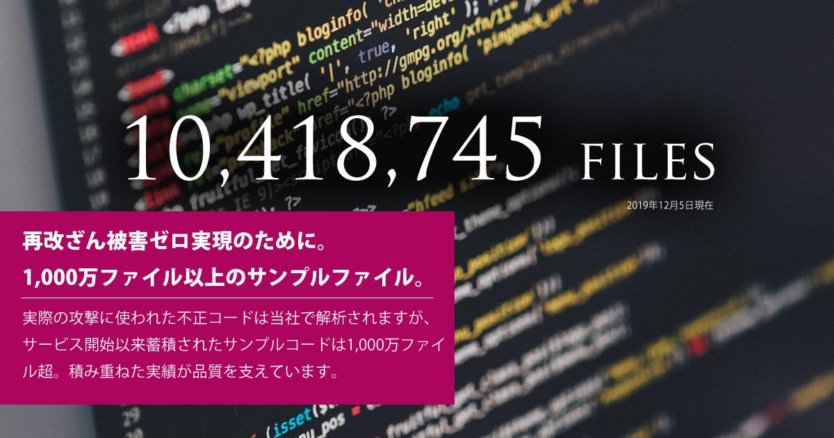 サンプルファイル数は1000万ファイル以上